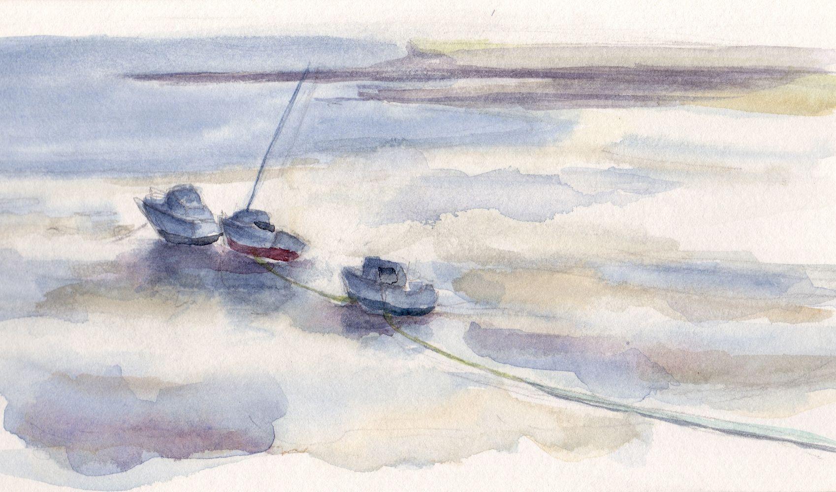 La Flotte-en-Ré à marée basse, aquarelle
