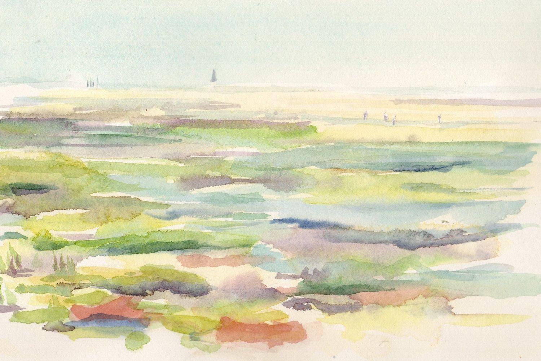 Marais d'Ars-en-Ré, aquarelle