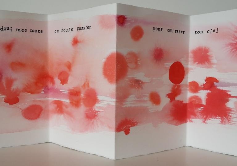Des mots rouges, encre et aquarelle, 28x76 cm