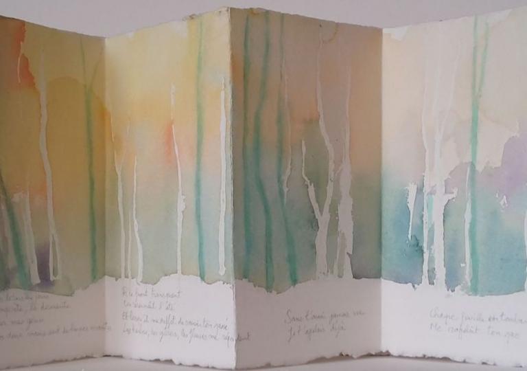 Je t'attendrai, René Guy Cadou, aquarelle