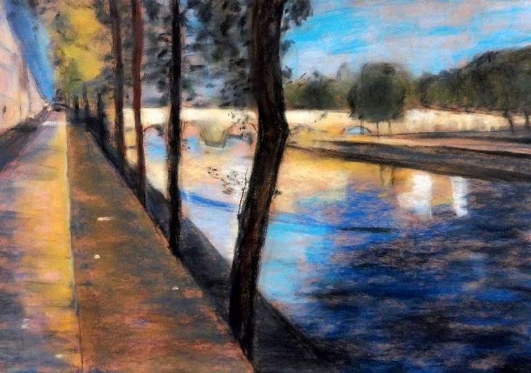 Pont Marie, un soir d'automne, pastel